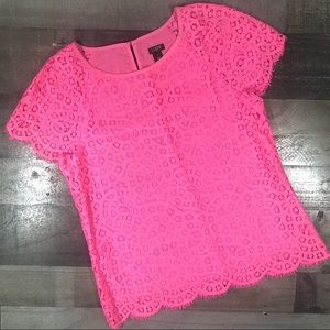 J.Crew pink eyelet lace top, size 4